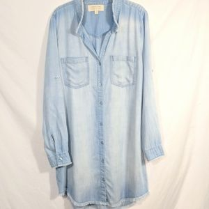 Cloth and Stone Chambray Frayed Shirt Dress